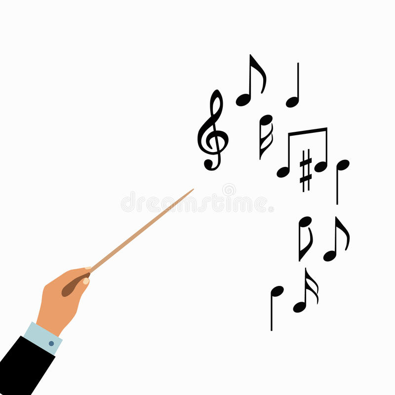 Conductor hands concept. Vector choir conductor music illustration. Concept of flat conductor orchestra hands. Colorful chorus conductor concept for your stock illustration