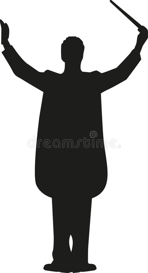 Conductor man silhouette. Occupation vector royalty free illustration