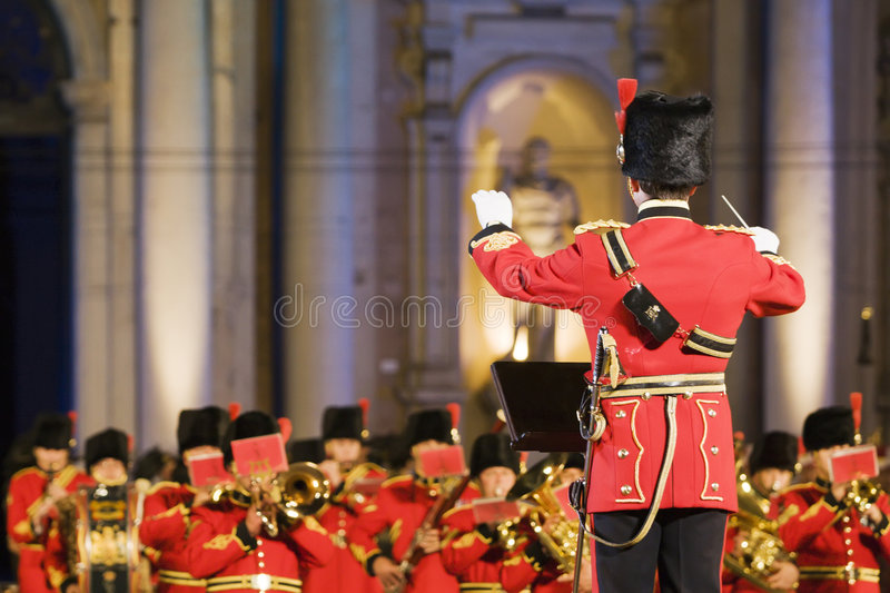 Conductor before military band stock photos