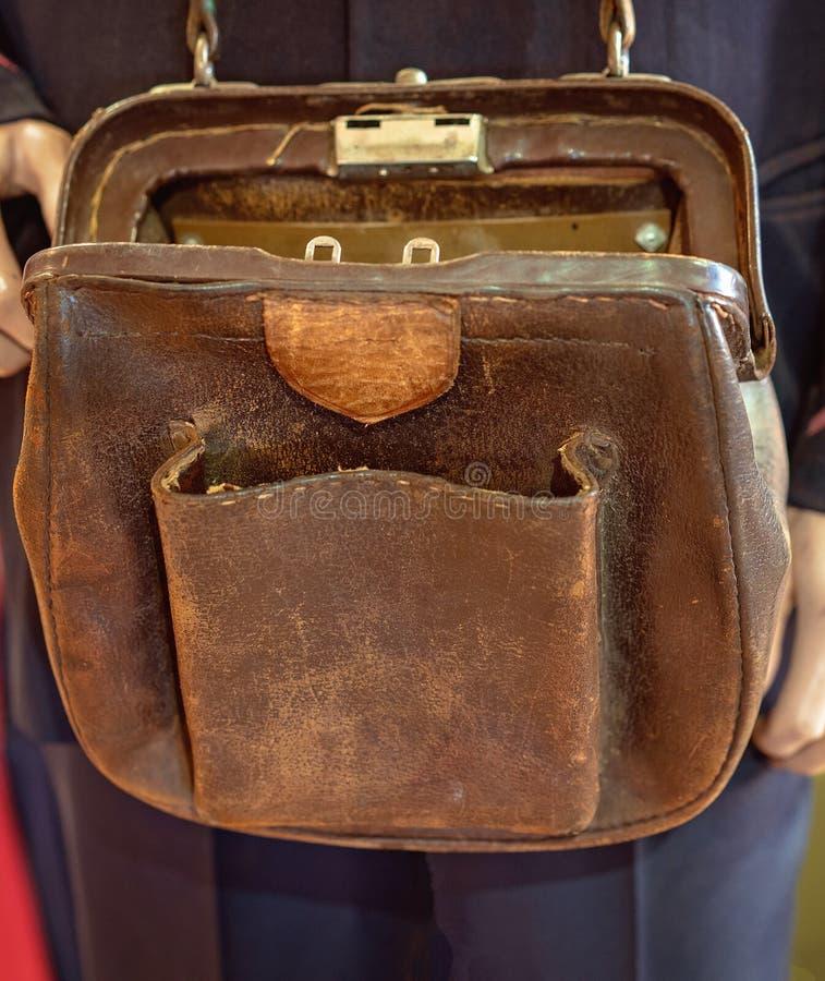 Conductor Money Bag de la tranvía del vintage foto de archivo
