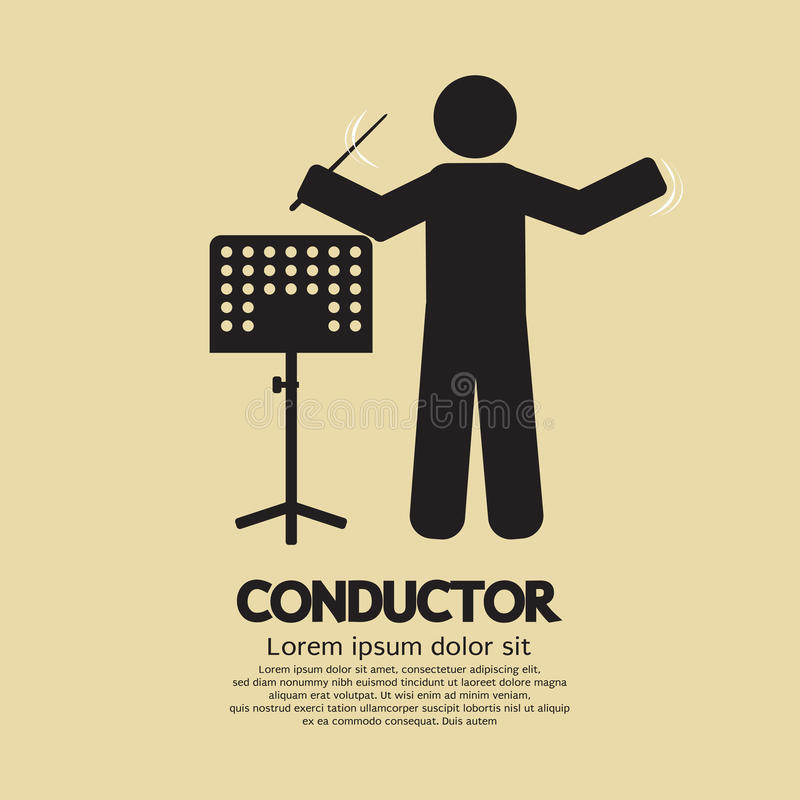 Conductor With Music Stand Symbol vector illustration