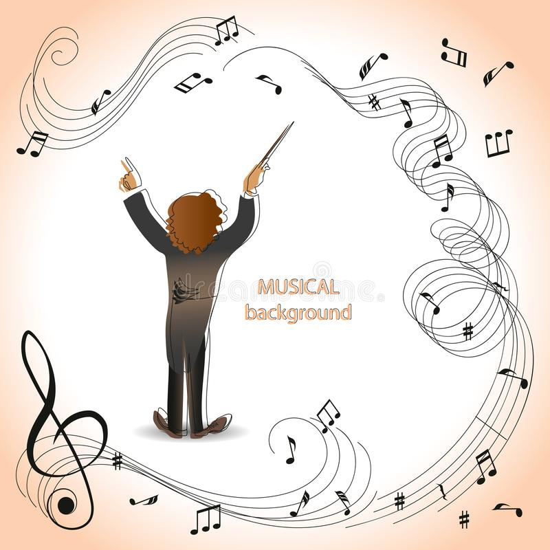 Conductor of orchestra. Magic of music. Composition for the design of advertising booklets, illustrations, concert programs, announcements of speeches in vector illustration