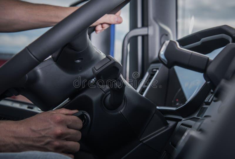 Conductor Starting His Truck foto de archivo