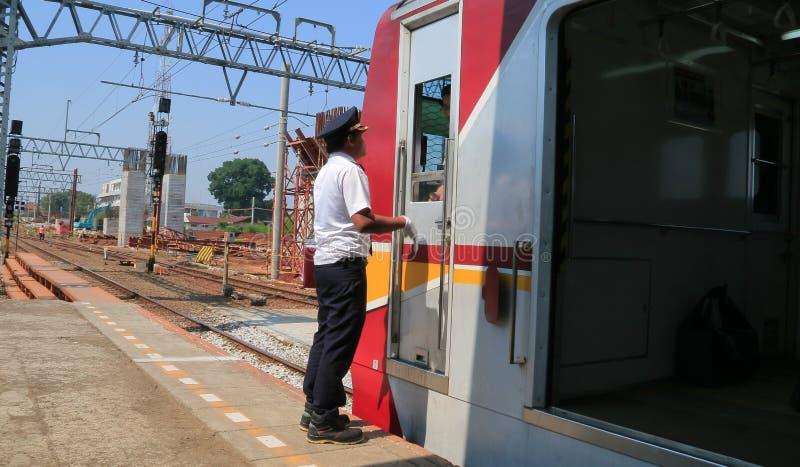 Conductores del tren imagenes de archivo