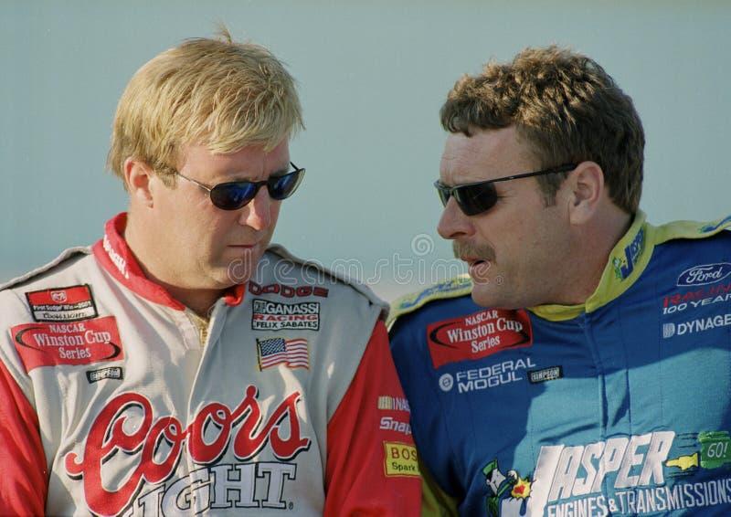 Conductores Sterling Marlin y Robert Pressley de NASCAR imagenes de archivo