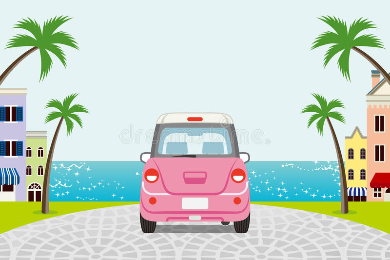 Conduisant la rétro voiture rose dans la ville de bord de la mer d'été - EPS10 illustration libre de droits