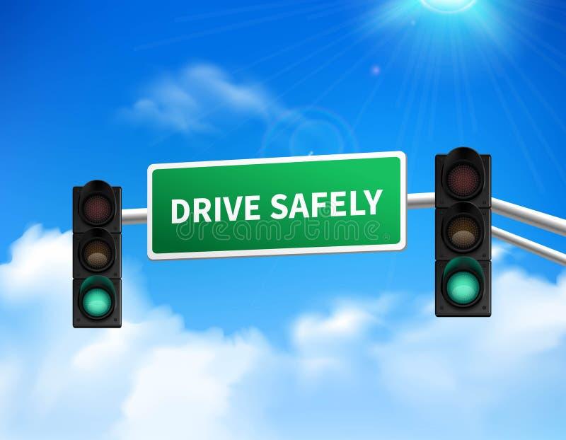 Conduisez sans risque l'icône commémorative d'autocollant de signe illustration stock