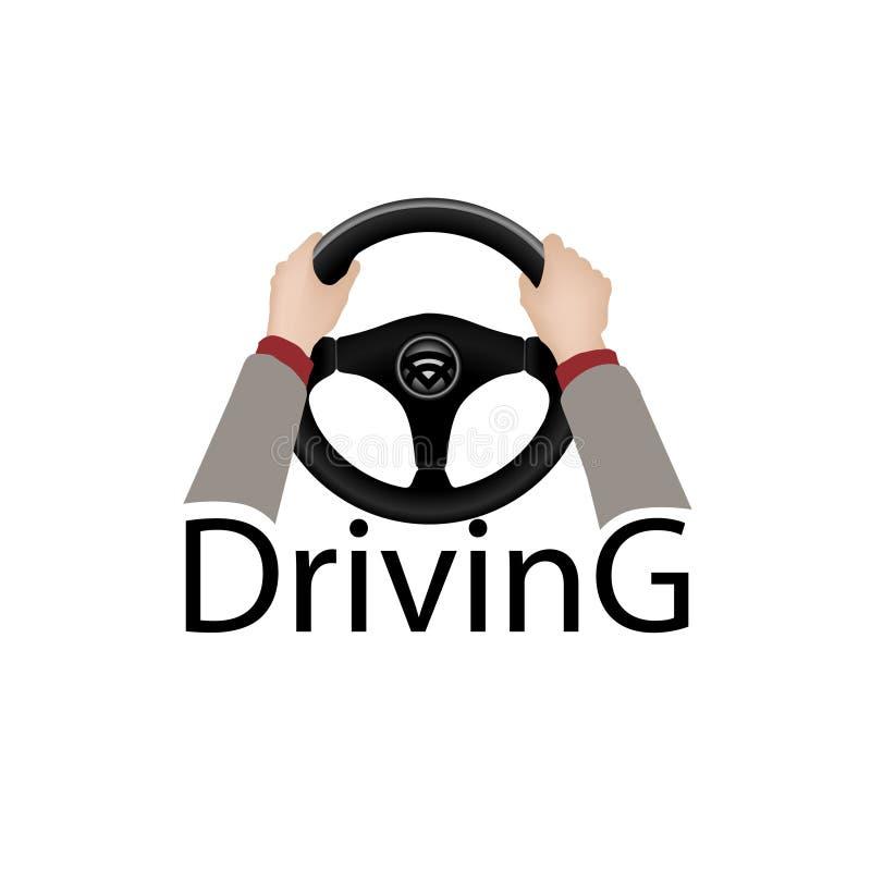 Conduisez un signe de voiture Élément de conception de plongeur avec des mains tenant le steeri illustration libre de droits