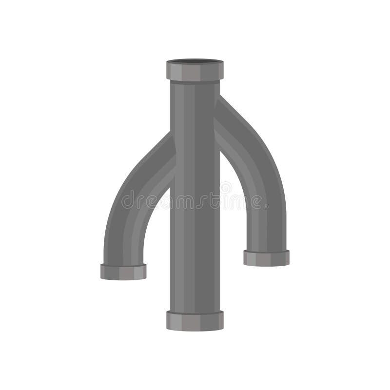 Conduit d'égout triple sur le fond blanc Concept de tuyauterie illustration libre de droits