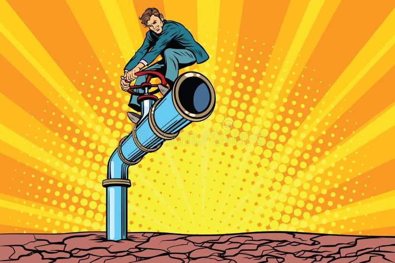 Conduite d'eau pendant une période de sécheresse, rétro homme d'affaires sur le tube illustration de vecteur