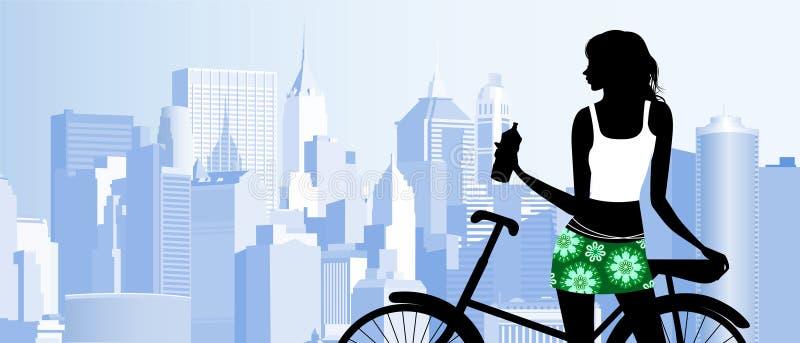 Conduite d'un vélo illustration libre de droits