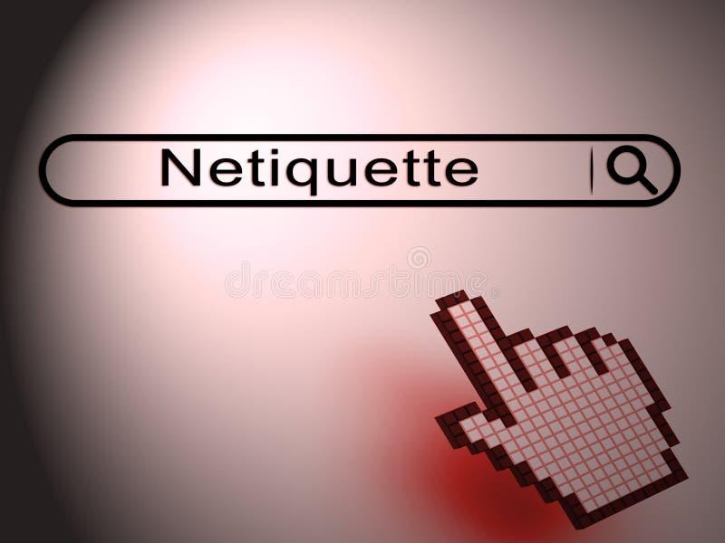 Conduta do Netiquette ou etiqueta em linha polida da Web - ilustração 3d ilustração stock