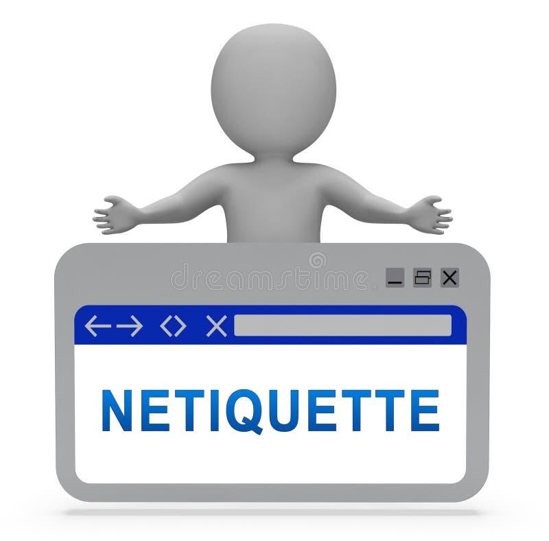 Conduta do Netiquette ou etiqueta em linha polida da Web - ilustração 3d ilustração royalty free