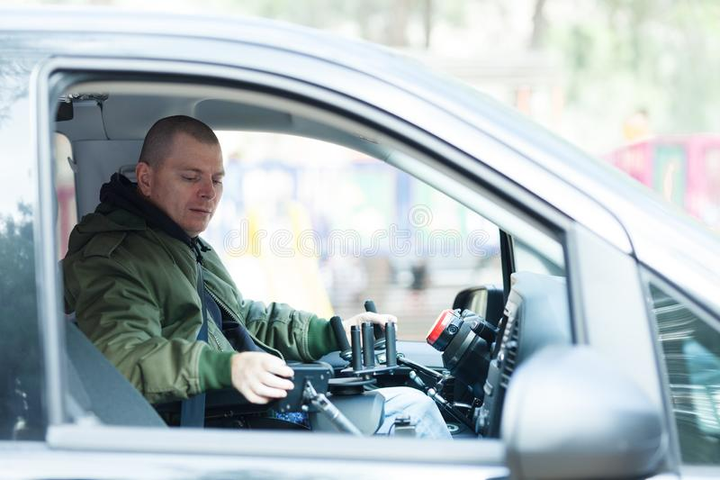 Condutor de veículos sem volante fotografia de stock