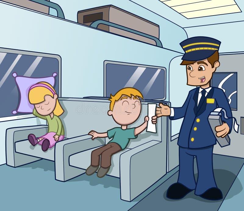 Conduttore di treno che aiuta alla corsa royalty illustrazione gratis
