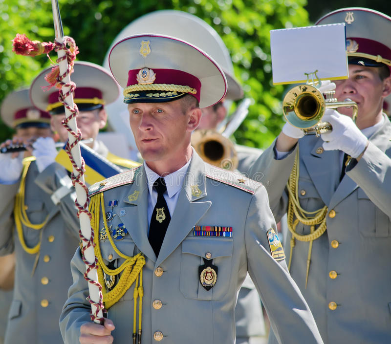 Conduttore, direttore, testa del brass band militare. fotografie stock libere da diritti