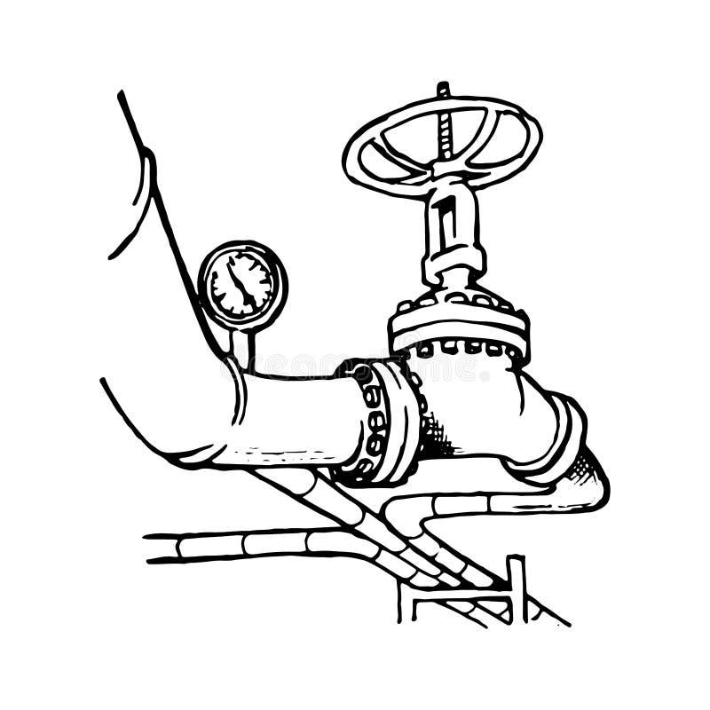 Disegno Di Un Rubinetto.Conduttura Del Gas Liquido Del Trasporto O Del Petrolio Greggio Con Un Rubinetto E Un Manometro Su Illustrazione Vettoriale Illustrazione Di Societ Inquinamento 130241139