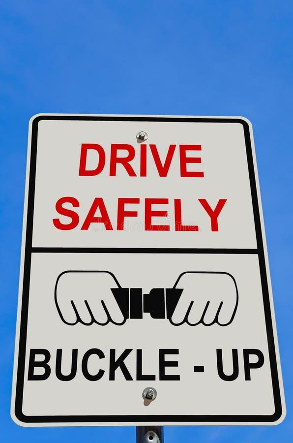Conduza com segurança o sinal de aviso imagem de stock