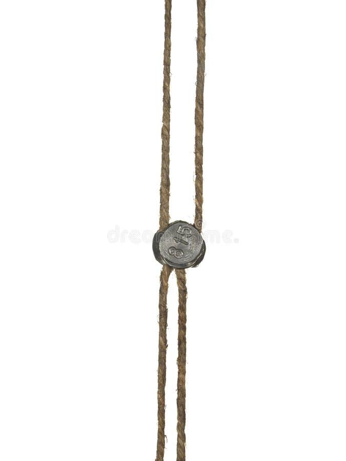 Conduza o selo em uma corda, ele é isolado em um fundo branco imagem de stock royalty free