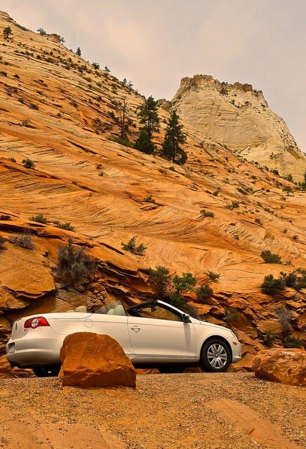 Conduzindo através de Zion National Park, Utá fotos de stock royalty free