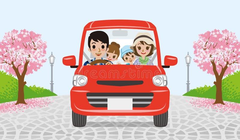 Conduzindo a família - parque da árvore de cereja - EPS10 ilustração royalty free