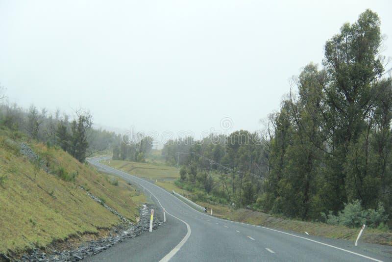 Conduzindo na curva que enrola Arthur Road, Tasmânia imagens de stock royalty free
