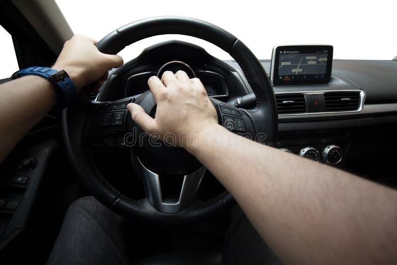 Conduzindo o carro, buzinando, segurança rodoviária imagens de stock