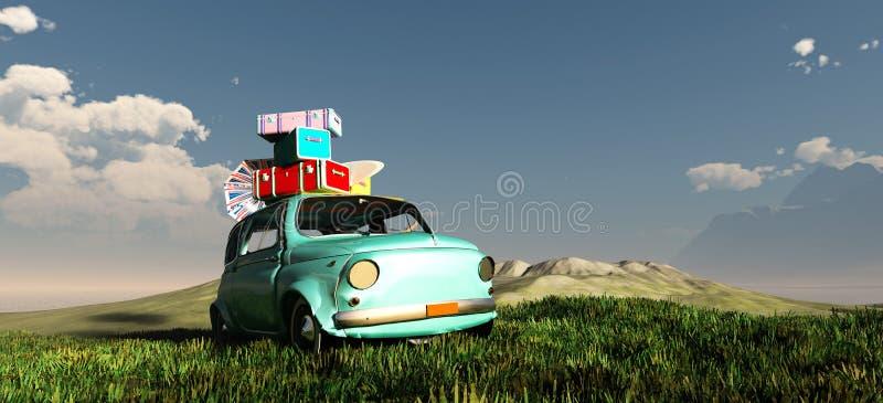 conduzindo o carro e a estrada ilustração stock
