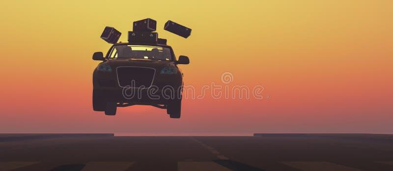 conduzindo o carro e a estrada ilustração royalty free