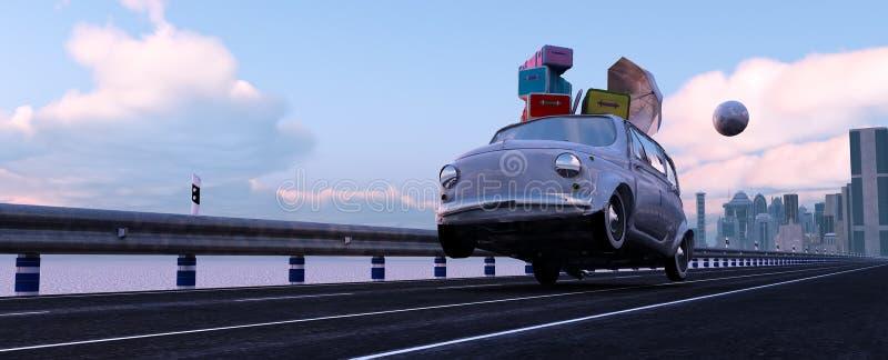 conduzindo o carro e a estrada ilustração do vetor