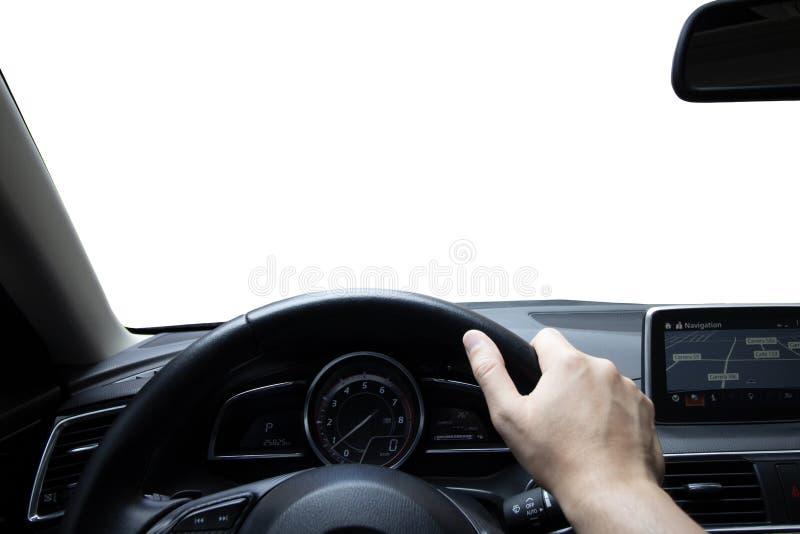Conduzindo o carro, homem que conduz seu carro imagem de stock