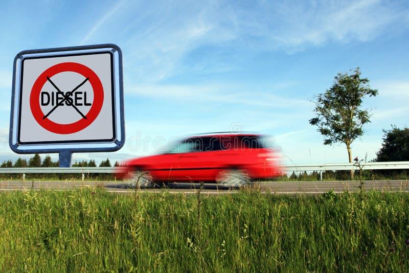 Conduzindo a proibição para carros diesel em Alemanha imagens de stock royalty free