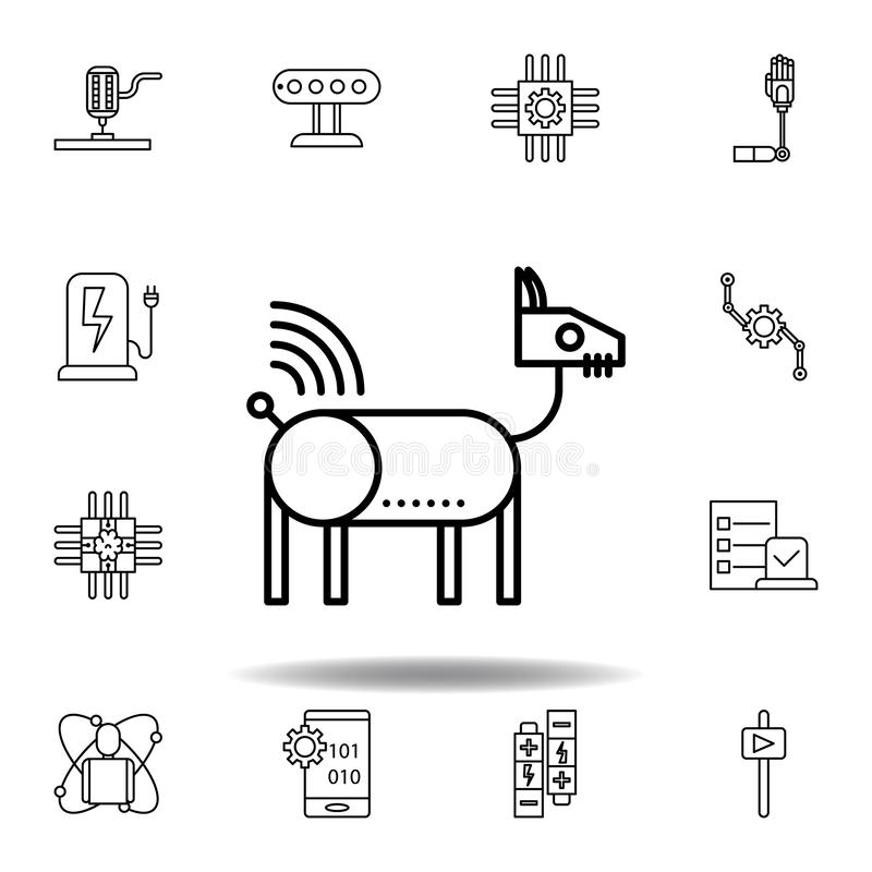 ?cone animal do esbo?o do c?o do rob? da rob?tica ajuste dos ícones da ilustração da robótica os sinais, símbolos podem ser usado ilustração royalty free
