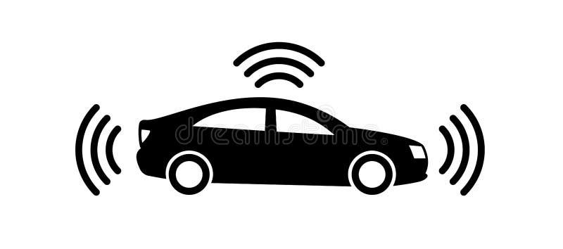 ?cone aut?nomo do carro isolado no fundo branco Auto-conduzindo o pictograma do veículo Sinal esperto do carro com sinal dos gps  ilustração royalty free
