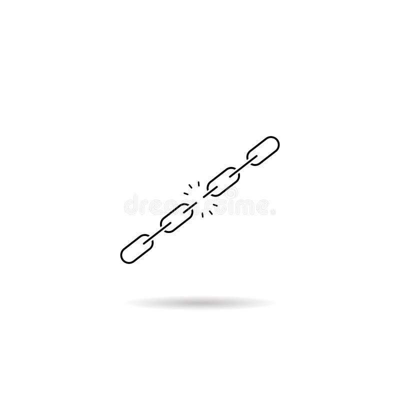 ?cone chain quebrado Conceito da falha S?mbolo liso do vetor ilustração stock