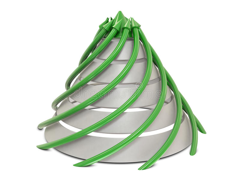 Cone chart green-white with spiral green arrows
