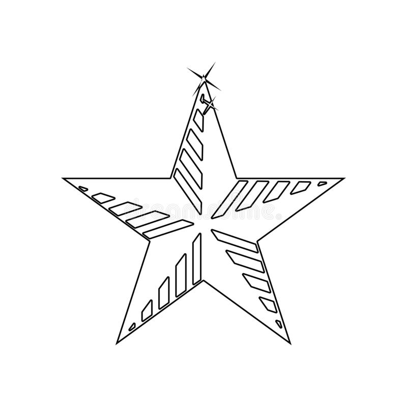?cone Cinco-agu?ado da estrela Elemento das estrelas para o conceito e o ?cone m?veis dos apps da Web Esbo?o, linha fina ?cone pa ilustração do vetor