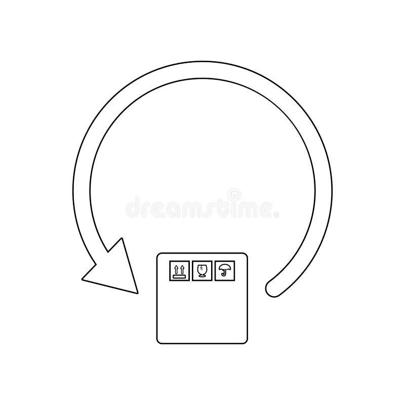?cone circular da caixa da seta e de embalagem Elemento de log?stico para o conceito e o ?cone m?veis dos apps da Web Esbo?o, lin ilustração royalty free