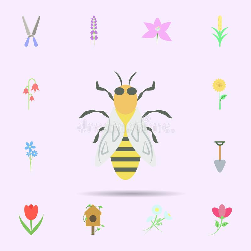 ?cone colorido abelha Grupo universal de natureza para o projeto do Web site e o desenvolvimento, desenvolvimento do app ilustração do vetor