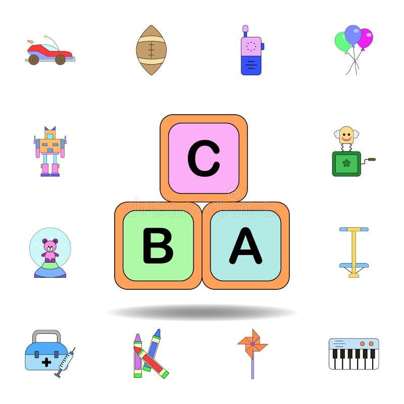 ?cone colorido brinquedo do alfabeto dos blocos dos infantes dos desenhos animados ajuste dos ícones da ilustração dos brinquedos ilustração stock