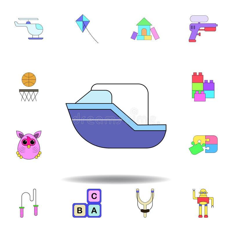 ?cone colorido brinquedo do navio dos desenhos animados ajuste dos ícones da ilustração dos brinquedos das crianças os sinais, sí ilustração royalty free