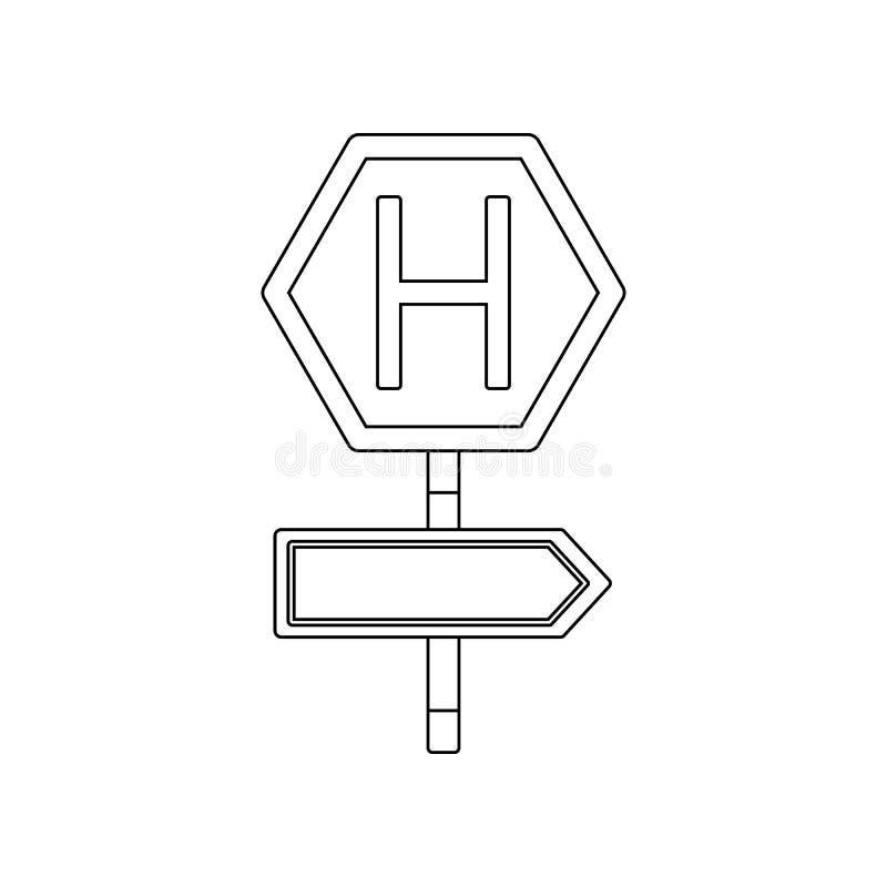 ?cone colorido do hospital adiante Elemento de sinais e de jun??es de estrada para o conceito e o ?cone m?veis dos apps da Web Es ilustração do vetor