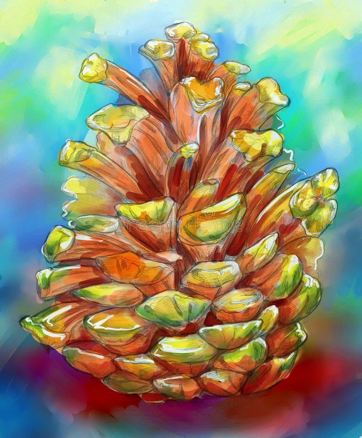 Cone colorido do pinho fotografia de stock royalty free