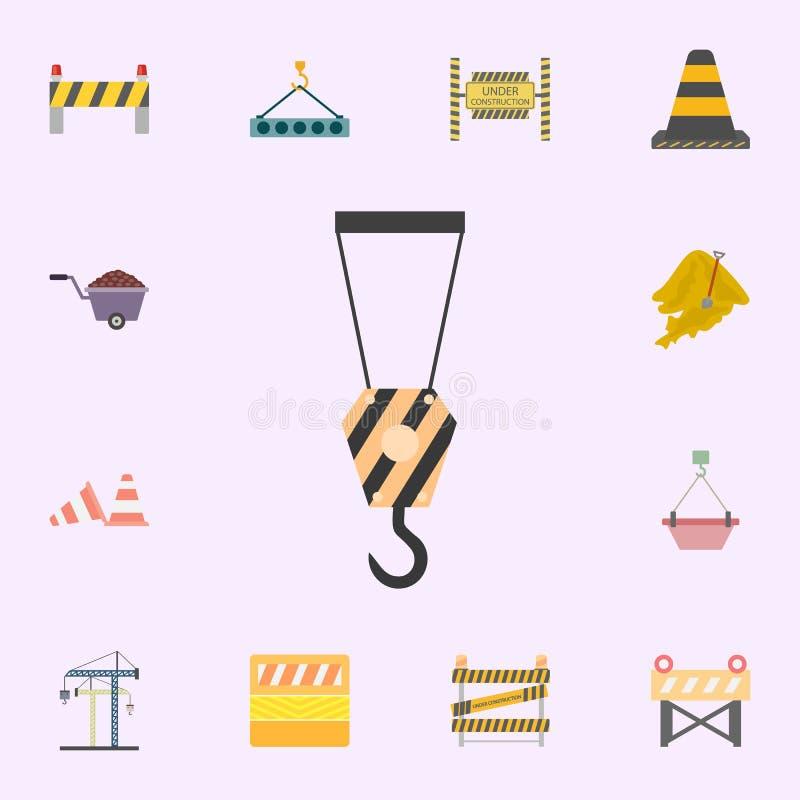 ?cone colorido gancho do guindaste Grupo universal dos ?cones dos materiais de constru??o para a Web e o m?bil ilustração stock