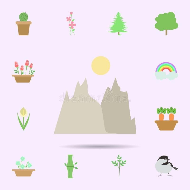 ?cone colorido paisagem Grupo universal de natureza para o projeto do Web site e o desenvolvimento, desenvolvimento do app ilustração do vetor