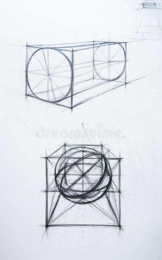 Download Cone, Cube, The Cylinder. Drawing Academic Stock Illustration - Image: 18704328