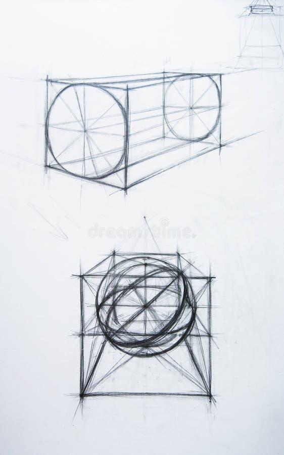 Cone, cubo, o cilindro. Academic desenhando ilustração royalty free