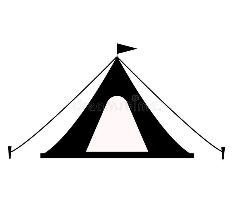 ?cone da barraca no fundo branco Estilo liso ícone para seu projeto do site, logotipo da barraca do turista, app, UI símbolo de a ilustração royalty free