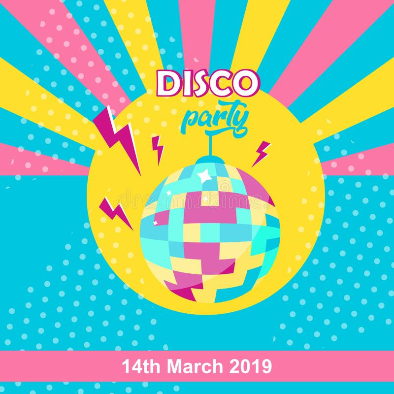 ?cone da bola do disco Cartaz do partido de disco ilustração stock