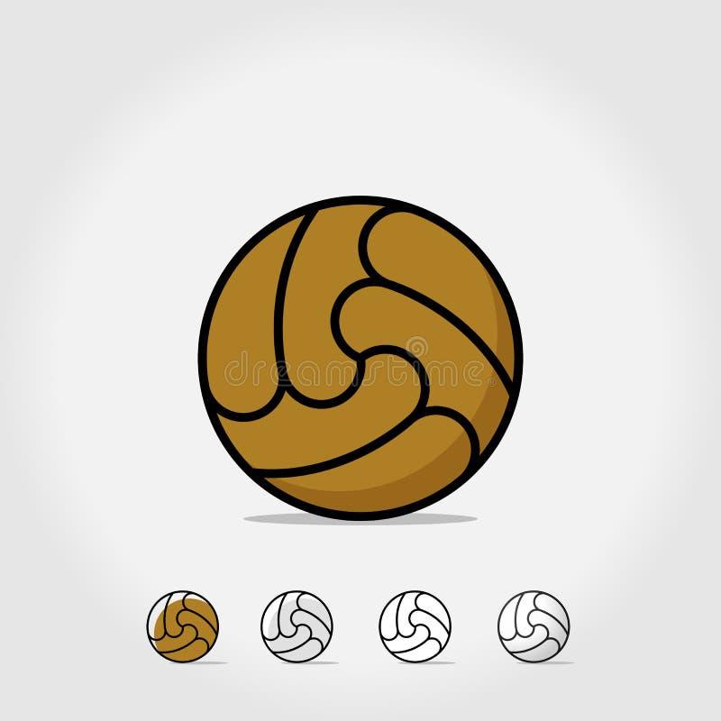 ?cone da bola Esfera de futebol isolada no fundo branco Ilustra??o de Logo Vetora Símbolo dos esportes do futebol, objetivo do fu ilustração stock